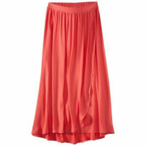 New Women's Maternity Clothes Bright Coral Long Maxi Skirt NWT Size S