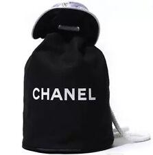 Chanel VIP Gift Black Canvas Waterproof Drawstring Backpack 1705151 Brand New