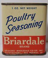Old Vintage 1950s BRIARDALE TIN LITHO SPICE TIN GROCERS COOP DES MOINES IOWA TIN