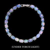 Unheated Oval Fire Opal Rainbow Full Flash 7x5mm 925 Sterling Silver Bracelet