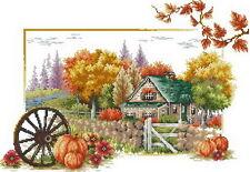 Free shipping needlework autumn 14 counted aida landscape cross stitch kit J069