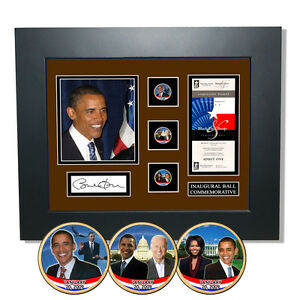 Barack Obama Black Tie and Boots Inaugural Ball Framed Colorized Coins with COA