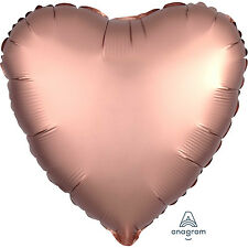 5 x Rose Gold Heart Shape Party Balloons Decoration - Satin Luxe Finish