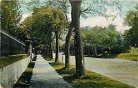 Waukegan Illinois~North Sheridan Road~Wrought Iron Fence on Wall~1910 Postcard