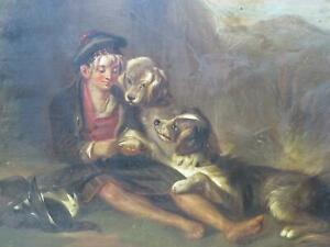 Scotland Scottish Breakfast with Dogs Circa 1850 Antique Oil Hunting Shooting