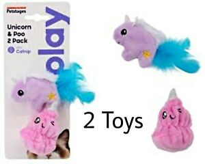 Petstages® Unicorn & Poo CATNIP Cat Toys w/Feathers & Crinkle Sound - 2 Pack