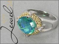 Damen Ring echt Silber 925 mit Rainbow Green Coated Quarz und Topas 56/17,8mm