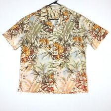 Island Aloha Wear Hawaiian Camp Shirt Sz XXL Cotton Tigers Palms Vintage