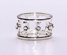 SILVER METAL CIRCUS STACKING RING WITH SPARKLING SILVER DIAMANTE GEMSTONES(ZX38)