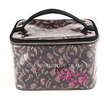 Victoria's Secret Clear Black Lace Travel Train Case Beauty Makeup Cosmetic Bag