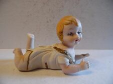 """Vintage Bisque Piano Baby Figurine Blonde Hair Laying On Belly  5 1/2"""""""