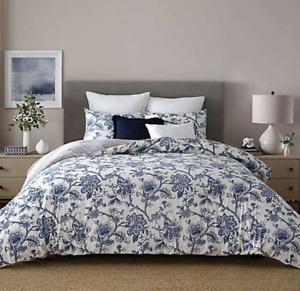 Wamsutta Norwich King Duvet Cover Set 3Pcs White & Blue NEW