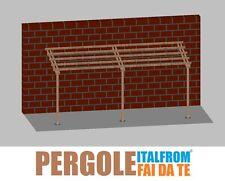 Pergola in Legno Impregnato Addossata Gazebo Tettoia Pompeiana Tassella 2X6X2,5h