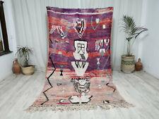 "Vintage Moroccan Boujaad Handmade Rug 5'2""x9' Berber Abstract Purple Wool Rug"