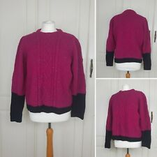 Vtg handknit pink flecked chunky cable knit colour block aran jumper XL 14 16 18