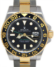 Rolex GMT-Master II 18k Yellow Gold & Steel Black Ceramic Mens 40mm Watch 116713