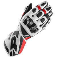 Spidi Carbo 1 Motorcycle Motorbike Leather Racing Sport Carbon Gloves Black Red
