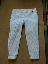NWT! $345 Per Se CROPPED cuffed STRAIGHT PANTS white & blue pinstripe size 16