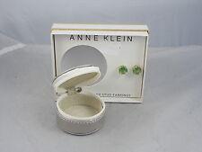 Anne Klein Goldtone Green Set Stone Stud Earrings Travel Jewelry Case Gift Set