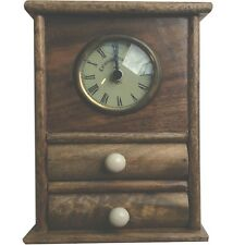 Rustic Wooden Table Clock with Two Small Drawers STC781075