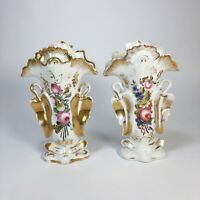 Pair of Antique Porcelain Victorian Paris Mantle Vases