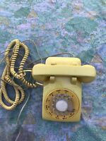 Vtg Western Electric Bell System 500D YELLOW Rotary Dial Telephone DATED 1963