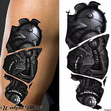 Cyborg Robot Mechanica brazo desgarro Steampunk realista Vapor Punk Tatuaje Temporal