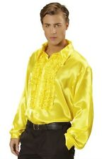 "Yellow Satin 70's 80's Ruffle Disco Shirt Fancy Dress Costume XL 48"" Chest"