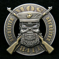 MOS 8411 RECRUITER CHALLENGE COIN US MARINES PIN UP POOLEE RECRUITING MCRD USMC
