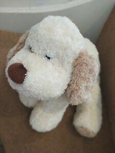 "13"" MARKS SPENCER CREAM BROWN PATCH PUPPY DOG SOFT TOY RED BONE COLLAR 9151673"