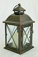 """Smart Design Aversa 10"""" Metal Lantern LED Candle with Timer Brown NEW in Box"""