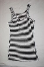 Womens RUE 21 TANK TOP Ribbed OFF WHITE w/ BLACK STRIPES Size L