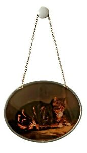 VTG Tom Cat Kitty Suncatcher  Brown Oval Shaped Reverse Painting Stainless Steel