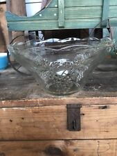 Clear Anchor Hocking Grape & Leaf Patterned Replacement Punch Bowl Base / Stand