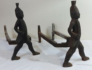 Antique Pair of Cast Iron Figural Hessian Soldiers Andirons Late 19th Century