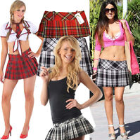 New Women's pleated skirts Sexy Scottish Hipster tartan check kilt side zip 8-20