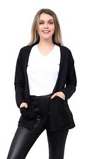 LADIES  WOMEN'S OPEN CARDIGAN WITH FRONT POCKET LONG SLEEVE TOPS VEST