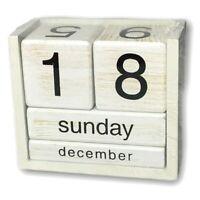 Vintage Whitewash Wooden Perpetual Desk Calendar MO DAY NO Block Planner NIB
