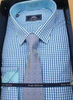 """RAEL BROOK 4321//85 BOXED SHIRT AND TIE  NEW BLUE WOVEN 18/""""18.5/""""19/""""19.5/""""20/""""21/"""""""