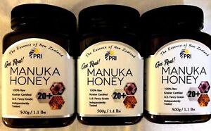 SET OF 3 Pacific Resources NZ Manuka Honey 100% RAW Bio Active 20+ 1.1 lbs Jar