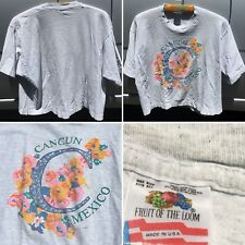 Vintage Cancun Mexico One Size Crop Top Made In USA 80s 1980s 90s T-Shirt