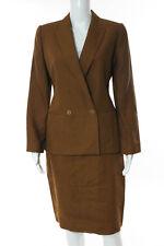 Linda Allard Ellen Tracy Light Brown Long Sleeve Linen Blazer Skirt Suit Size 8