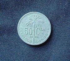 Munt Congo Belge/Belgisch Congo: 50 CENTIMES 1924 (vlaamse legende)