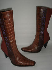 DIBRERA CROCO EMBOSSED LEATHER LYCRA BOOT US 10 EUR 40 SEXY UNIQUE MADE IN ITALY