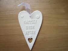 New 'Happily Ever After' Ceramic Heart Wedding Gift Present Hanging Wall Plaque