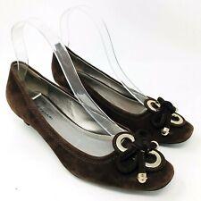 8f3fcb234d3 Elie Tahari Women Shoes Sz 37.5 7 Brown Suede Kitten Heels Office Work Gold  Bow