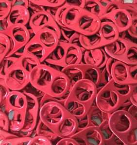 300 Red COLORED ALUMINUM CAN TABS ASSORTED PULL TABS POP TOPS SODA CRAFTS