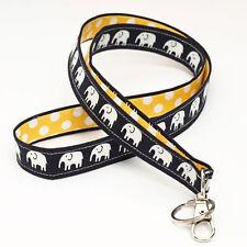 Lanyards Badge Strap Fabric Key Holder Neck Strap - black elephants yellow dots