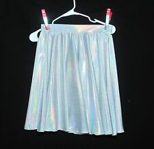 SILVER WHITE HOLOGRAPHIC CIRCLE SKATER SKIRT ..SIZE M-L PULL ON DANCE, COSTUME