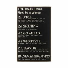 """Collins """"Five Deadly Terms by Woman"""" Decorative Wood Sign NWT Fun Gift!"""